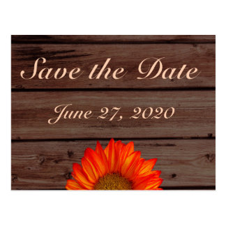 Rustic Save The Dates Orange Sunflower Postcard