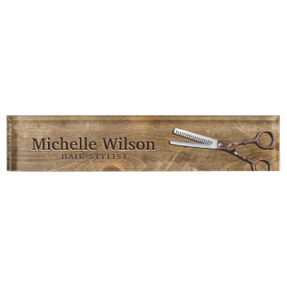 Rustic Scissors & Wood Makeup Beauty Hair Salon Nameplate