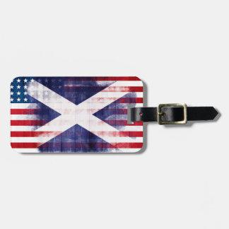 Rustic Scottish American Flag Bag Tag