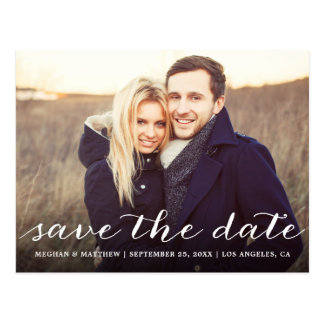 Rustic Script | Photo Save the Date Postcard