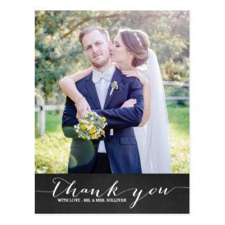 Rustic Script Wedding Vertical Thank You Postcard