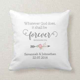Rustic Scripture Christian Art Wedding Gift Cushion