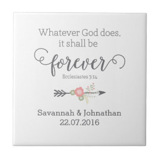 Rustic Scripture Christian Art Wedding Gift Small Square Tile