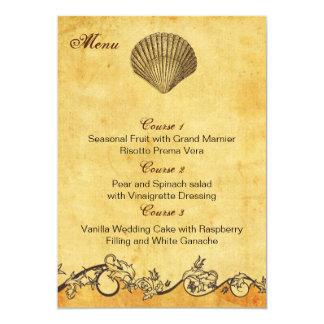 rustic seashell  beach wedding menu cards 13 cm x 18 cm invitation card