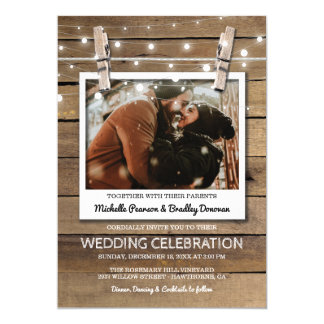 Rustic Selfie Photo Fairy Lights Wedding Card