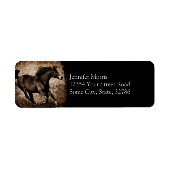 Rustic Sepia Galloping Horse Return Address Label