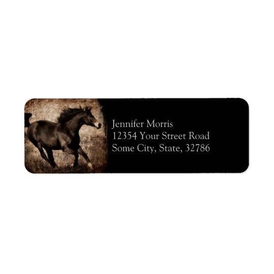 Rustic Sepia Galloping Horse Return Address Label