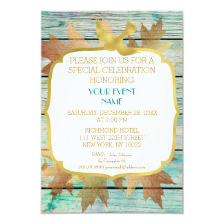 Rustic Shabby Birthday Wedding Green Golden 9 Cm X 13 Cm Invitation Card