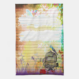 Rustic Shabby Chic Colorful Vintage Floral Tea Towel