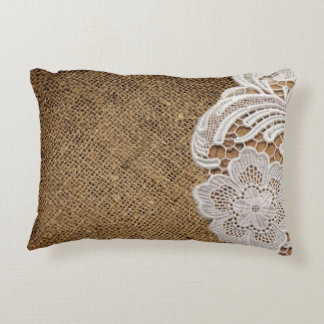 rustic shabby chic girly country burlap and lace decorative cushion