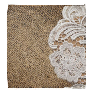 rustic shabby chic girly country burlap and lace head kerchief