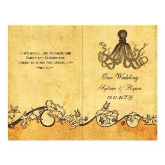 Rustic shabby chic octopus beach Wedding program 21.5 Cm X 28 Cm Flyer