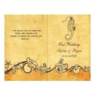 Rustic shabby chic sea horse beach Wedding program 21.5 Cm X 28 Cm Flyer