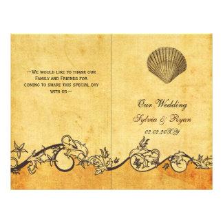 Rustic shabby chic seashell beach Wedding program 21.5 Cm X 28 Cm Flyer