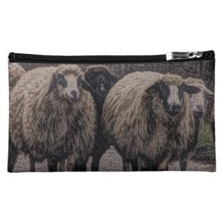 Rustic sheep on road cosmetic bag
