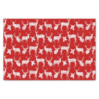 Rustic Silhouette Deer on Red Tissue Paper