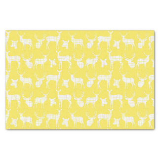 Rustic Silhouette Deer on Yellow Tissue Paper