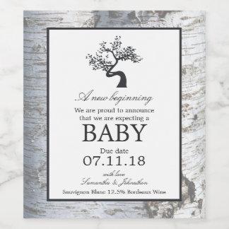 Rustic Silver Birch Tree Baby Announcement Wine Label