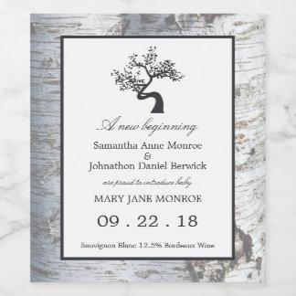 Rustic Silver Birch Tree Baby Girl Announcement Wine Label