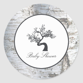 Rustic Silver Birch Tree Baby Shower Classic Round Sticker