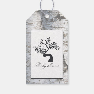 Rustic Silver Birch Tree Baby Shower Gift Tags