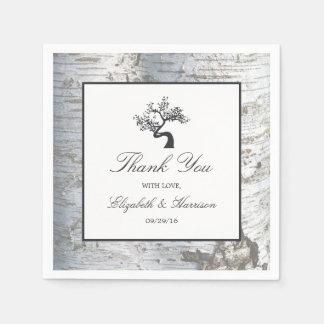 Rustic Silver Birch Tree Wedding Disposable Napkins