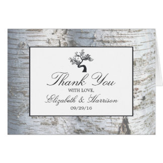 Rustic Silver Birch Tree Wedding Thank You Note Card
