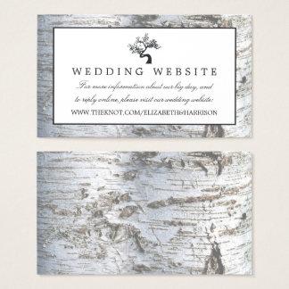 Rustic Silver Birch Tree Wedding Website Business Card