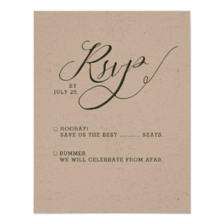Rustic Simple Calligraphy RSVP Cards