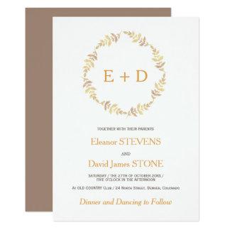Rustic simple gold laurel leaves wreath wedding card