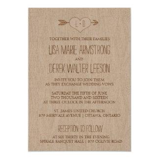 Rustic Simple Woodgrain Wedding Invitation