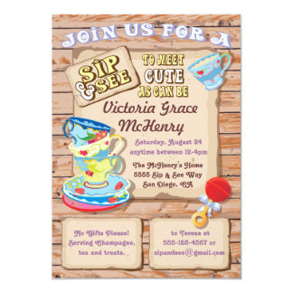 Rustic Sip and See New Baby Invitation
