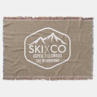 Rustic Ski Lodge Mountain Aspen Colorado Burlap Throw Blanket