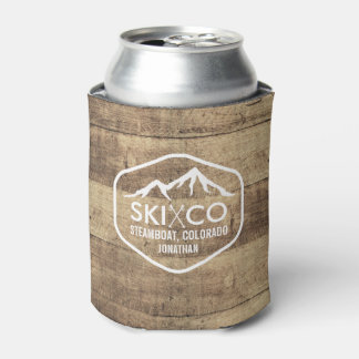 Rustic Ski Mountain Steamboat CO Wood Beer Can Cooler