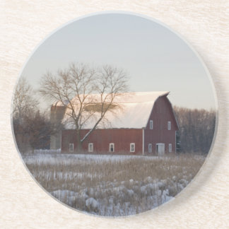 Rustic Snow Covered Barn Beverage Coaster