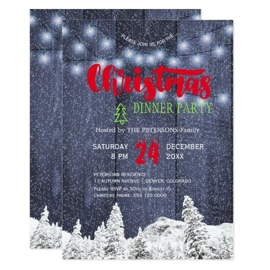 Rustic snow string lights blue red Christmas party Card