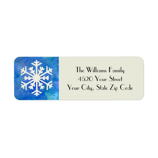 Rustic Snowflake Blue Watercolor Winter Holiday Return Address Label