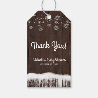 Rustic Snowflake Boy Baby Shower Favor Tags