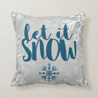 Rustic Snowflakes on White Burlap | Let It Snow Cushion