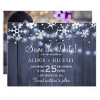 Rustic snowflakes winter photo wedding save date card