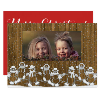 Rustic Snowman Family Merry Christmas Card