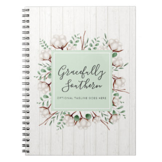 Rustic Southern Cotton Flowers on White Barn Wood Notebook