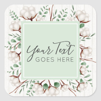 Rustic Southern Cotton Flowers on White Barn Wood Square Sticker