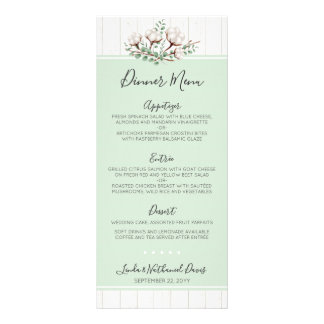Rustic Southern Cotton & Wood Wedding Dinner Menu