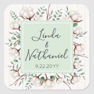 Rustic Southern Cotton & Wood Wedding Names / Date Square Sticker