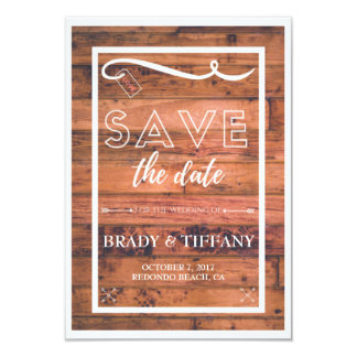 Rustic Southern Wood Wedding Save the Date Card