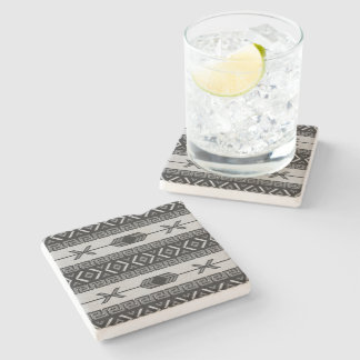 Rustic Southwest Aztec Pattern Limestone Stone Beverage Coaster