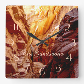 Rustic Southwest Slot Canyon NV Clock Personalized