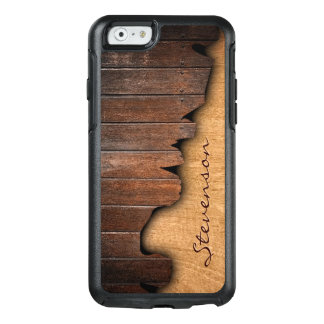 Rustic Splintered Wood Look with Monogram Name OtterBox iPhone 6/6s Case