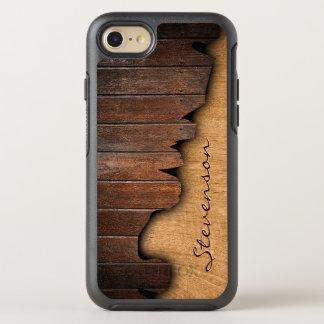 Rustic Splintered Wood Look with Monogram Name OtterBox Symmetry iPhone 8/7 Case